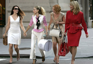 "NEW YORK - SEPTEMBER 21:  Actresses Kristin Davis as ""Charlotte,"" Sarah Jessica Parker as ""Carrie Bradshaw,"" Cynthia Nixon as ""Miranda,"" and Kim Cattrall as ""Samantha"" on location for ""Sex and the City: The Movie"" on September 21, 2007, in New York City.  (Photo by Brian Ach/WireImage) *** Local Caption *** Kristin Davis; Sarah Jessica Parker; Cynthia Nixon; Kim Cattrall"