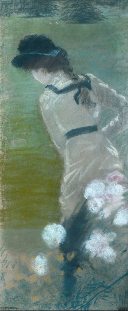 Signora di spalle in giardino de nittis 1883