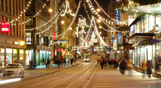 La principale via dello shopping ad Helsinki