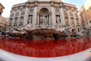 fontana di trevi rossa