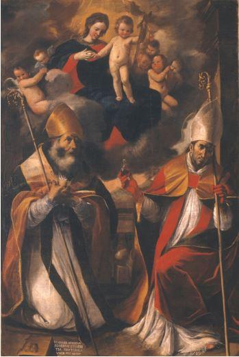 """Madonna col Bambino in gloria tra i santi Gennaro e Nicola di Bari detta """"Madonna della purità"""