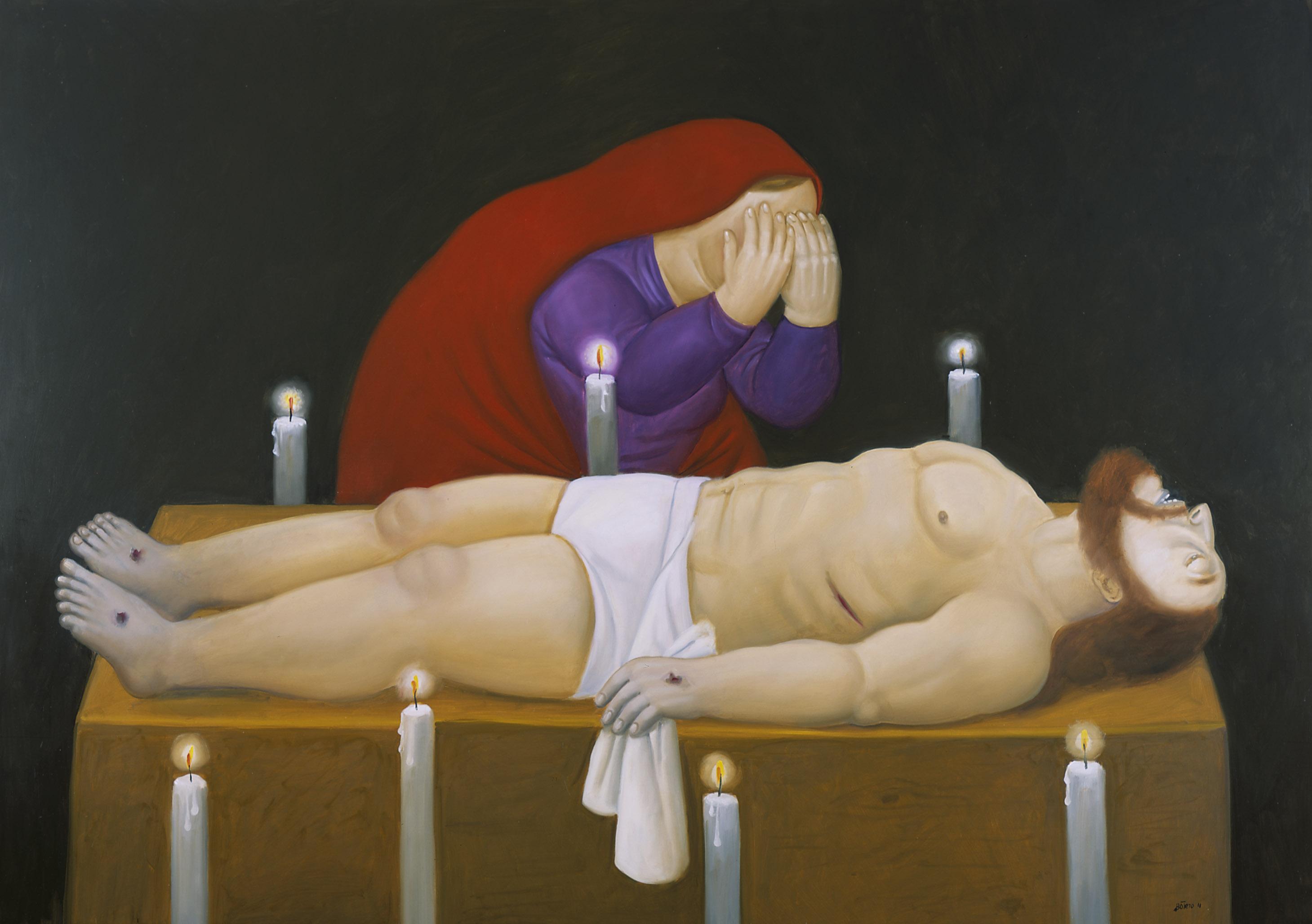 Cristo ha muerto, 2011 Cristo è morto / Christ has Died Olio su tela / Oil on canvas 134 x 191,1 cm Medellín, Museo de Antioquia