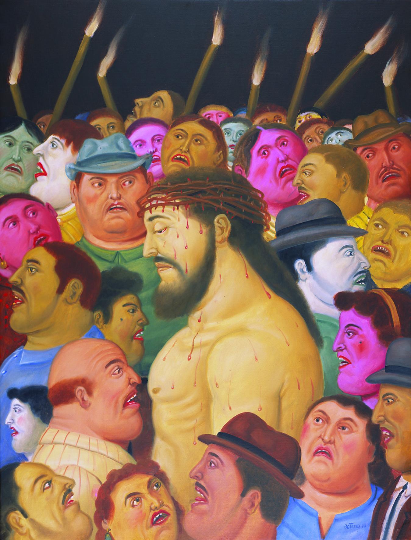 Jesús y la multitud, 2010 Cristo e la moltitudine Jesus and the Crowd Olio su tela / Oil on canvas 106 x 81 cm Medellín, Museo de Antioquia