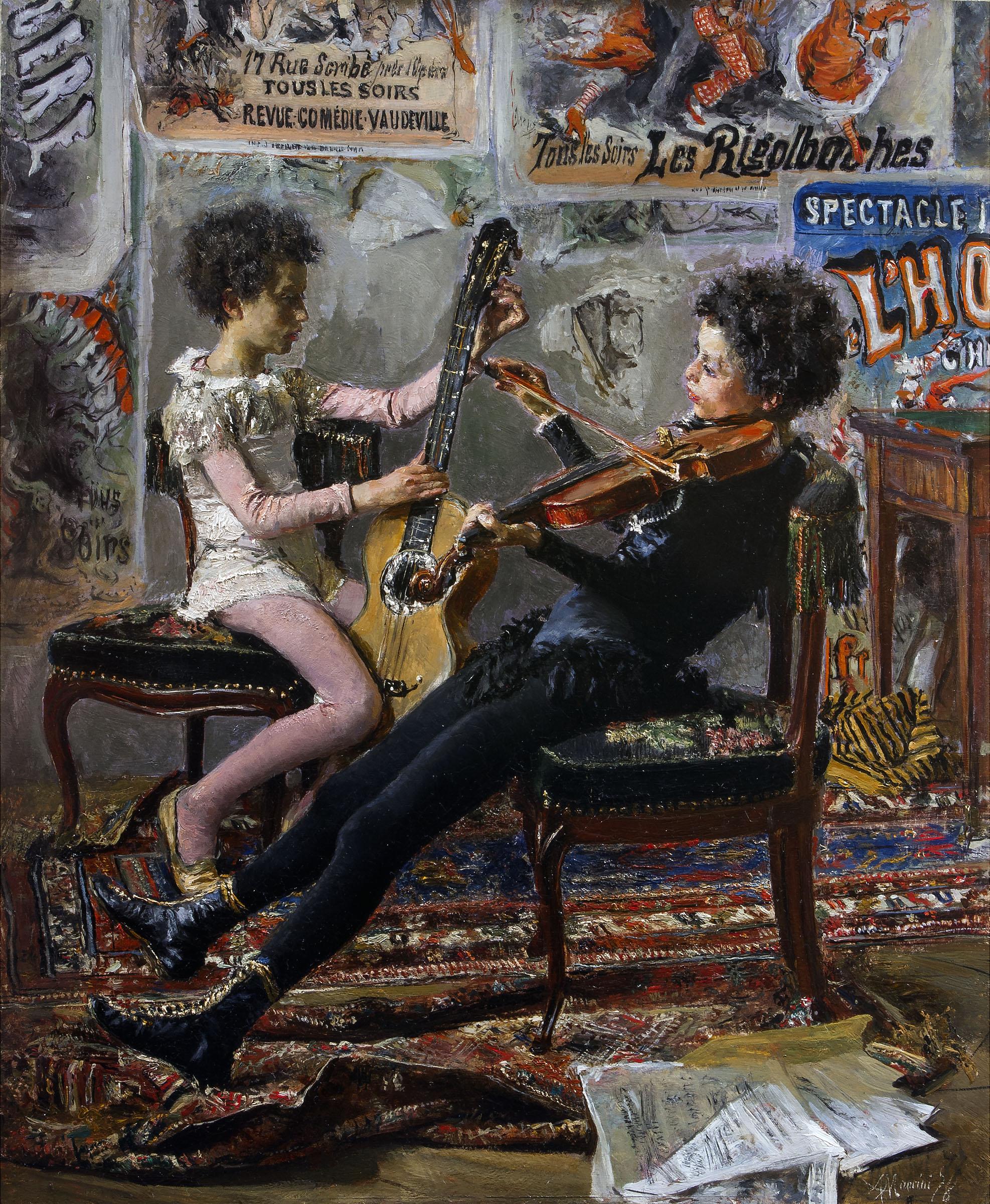 Antonio Mancini, Saltimbaltanchi suonatori, olio su tavola 55,5 x 45,5 cm, Collezione privata