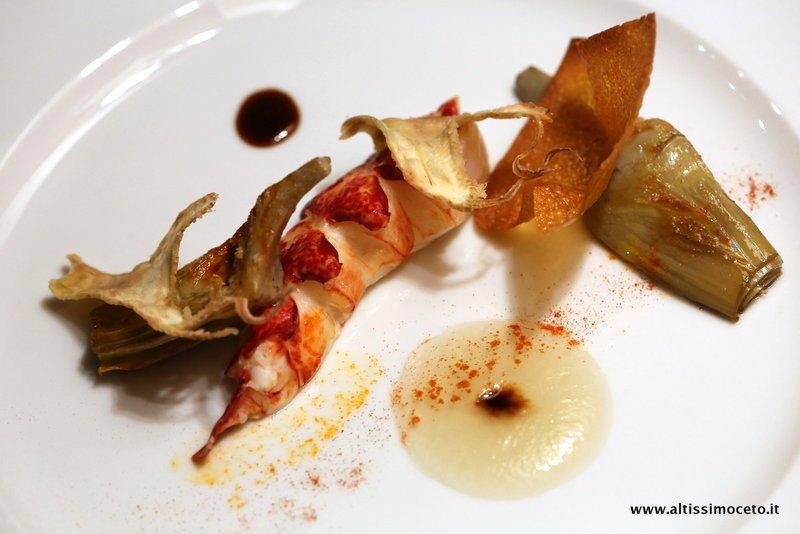 Astice e carciofi in salsa Champagne