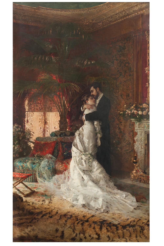 Edoardo Tofano, Infine...soli! olio su tela, 130 x 78 cm, Collezione privata
