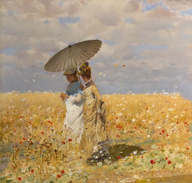 Giuseppe De Nittis, Tra le spighe del grano, olio su tavola, 33 x 25 cm, Collezione privata
