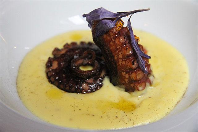 Tentacolo di polpo grigliato con crema di patate allo zafferano