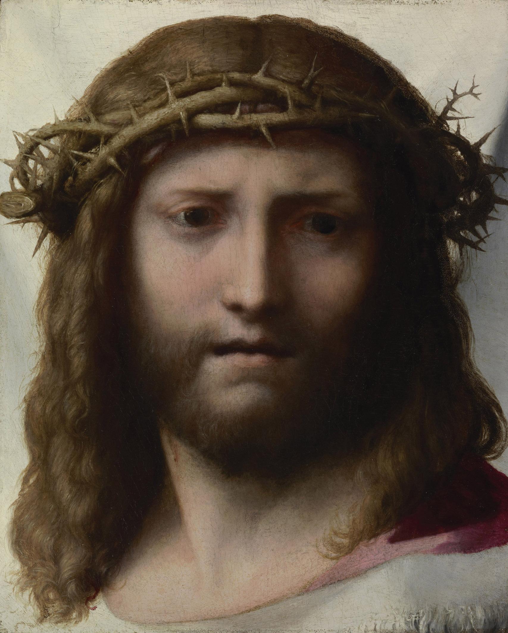 Correggio (Antonio Allegri) Volto di Cristo olio su tavola 28.6 x 23.5 cm. Los Angeles, J. Paul Getty Museum