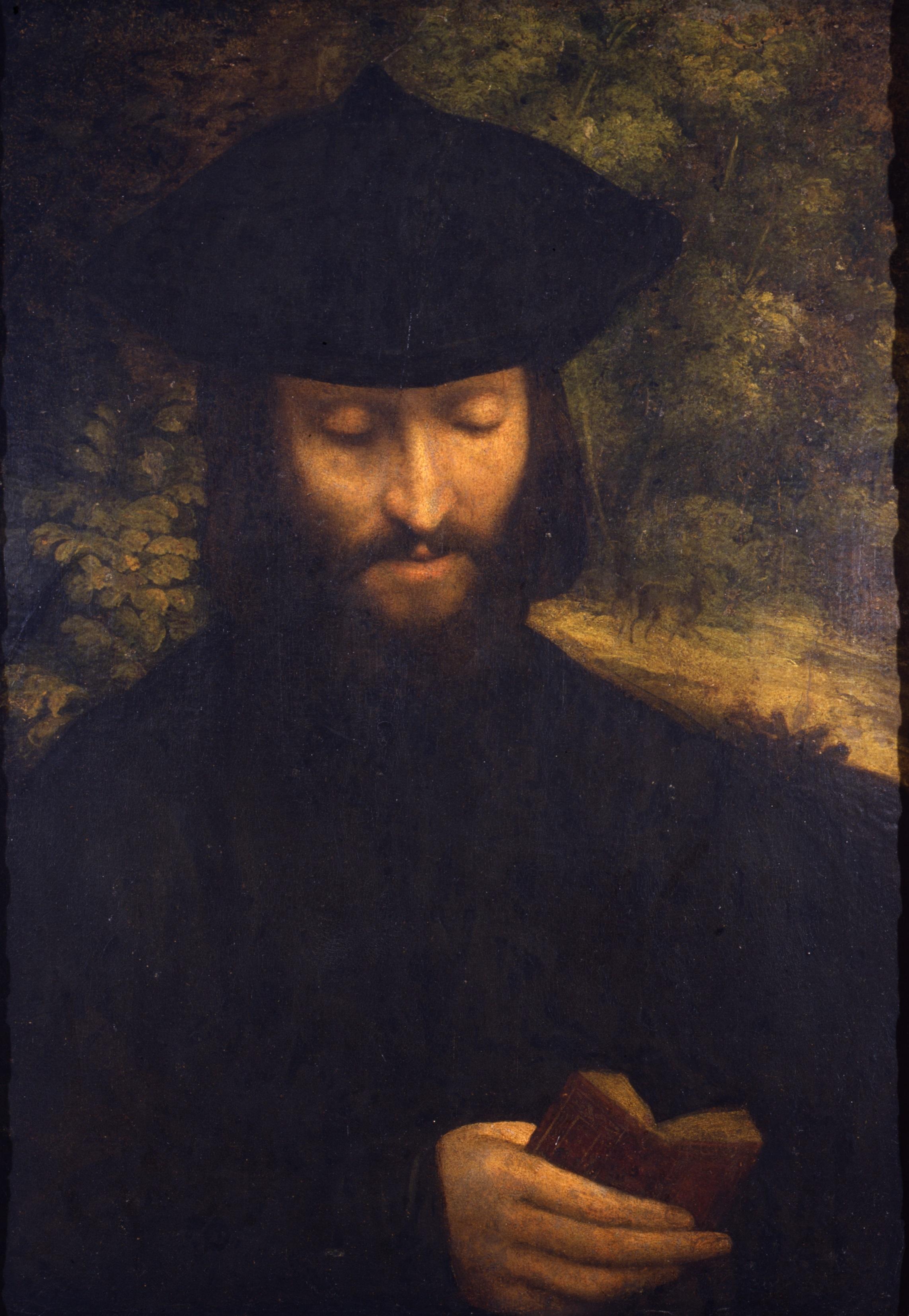 Correggio (Antonio Allegri) Ritratto di uomo leggente olio su carta incollato su tela 60.2 x 42.5 cm. Milano, Museo d'Arte Antica del Castello Sforzesco, Pinacoteca