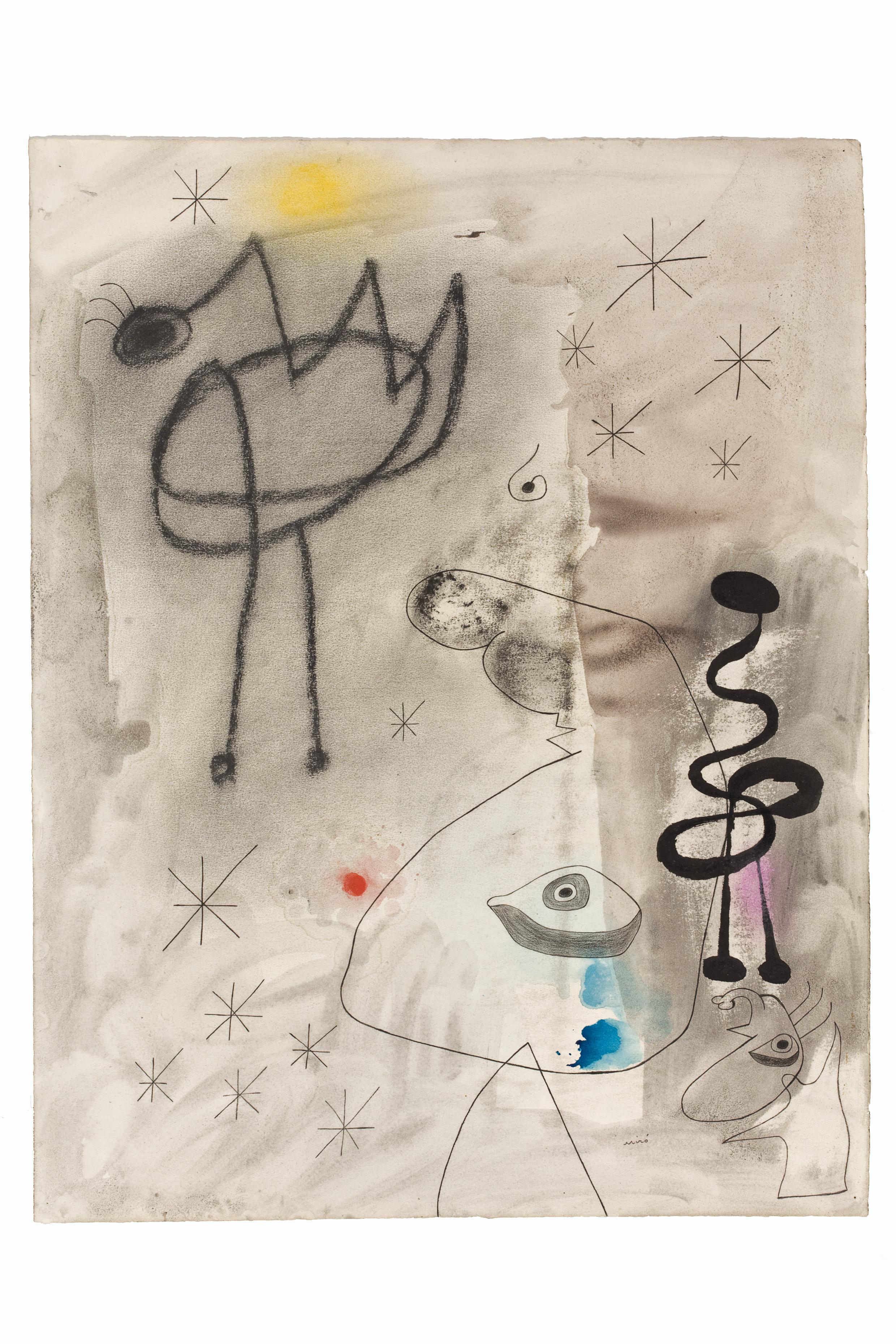 Personaggi, uccello, stelle, 1942 Matita, acquerello, guazzo, inchiostro di china e pastello su carta