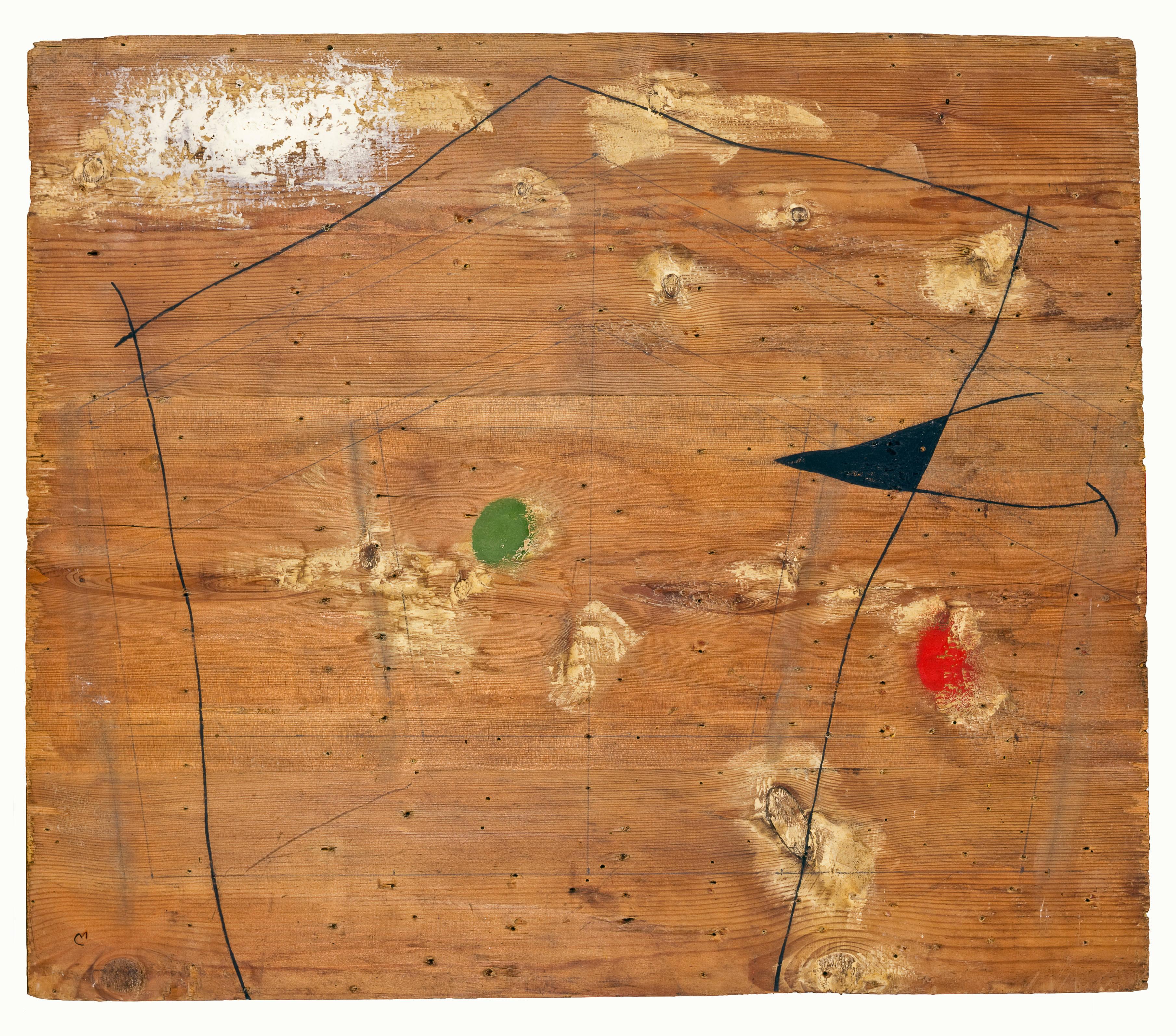 Dipinto, 1960 Olio, grafite e mastice su tavola
