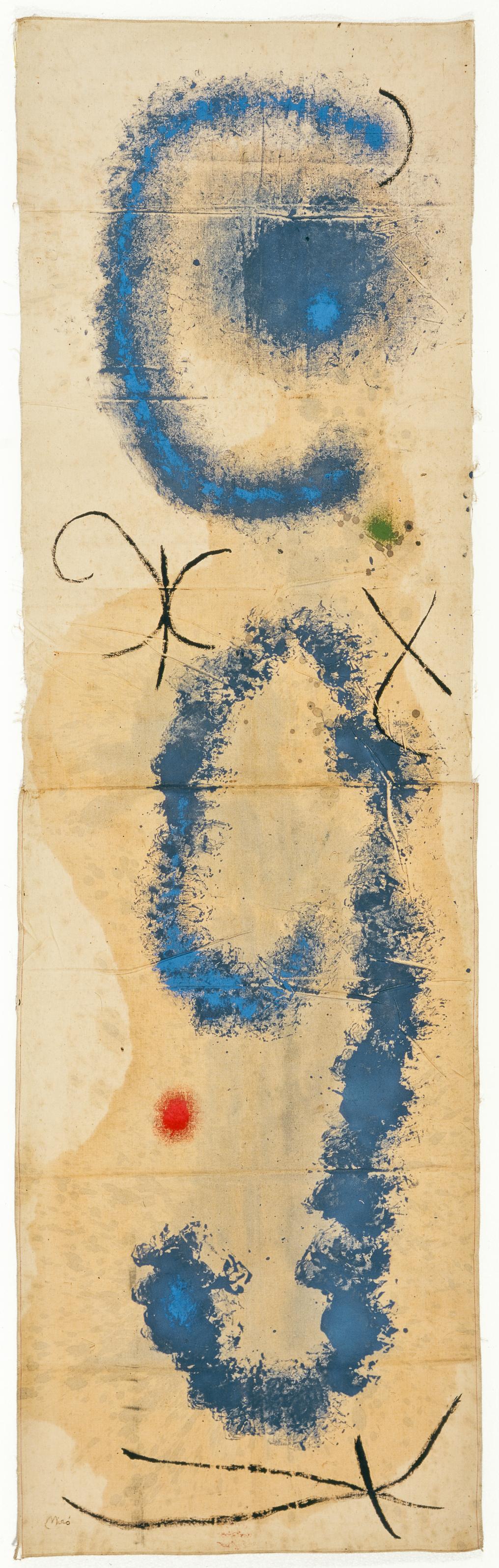 Joan Miró Dipinto, 1962 Olio su stoffa