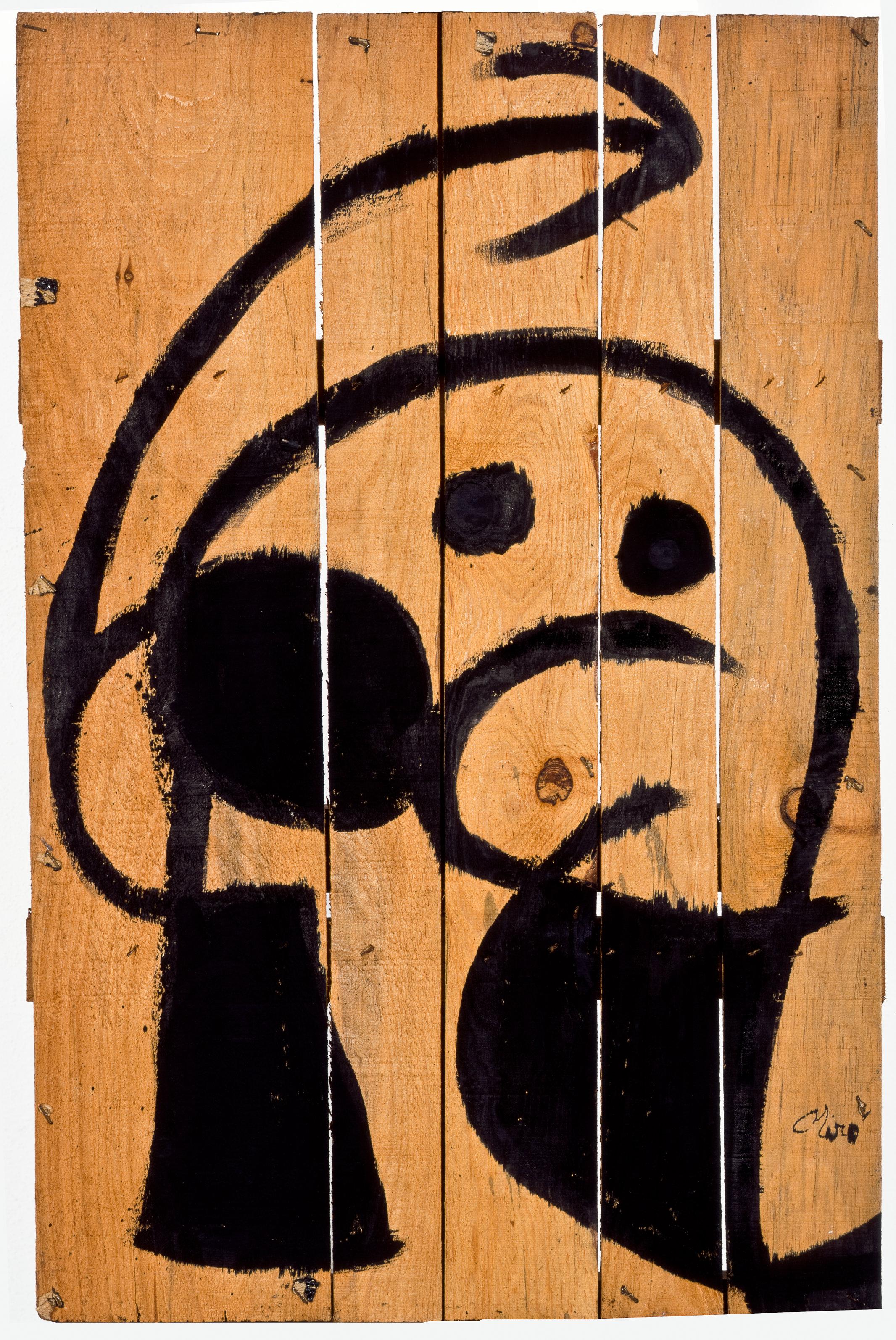 Joan Miró Personaggio, uccello, 1976 Olio su tavola