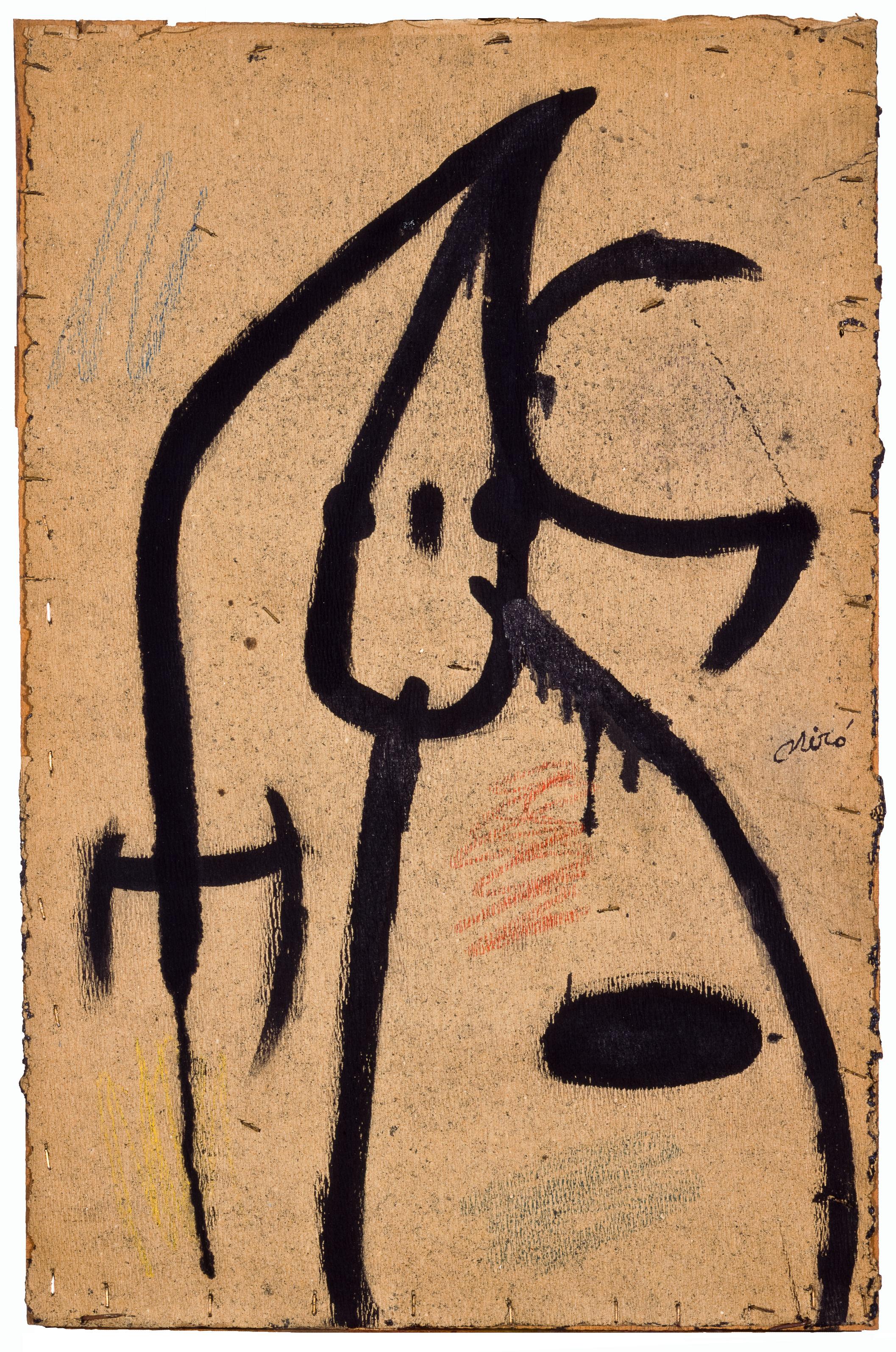 Joan Miró Personaggio, uccelli, 1976 Olio e pastello a cera su carta da imballaggio fissata su tavola