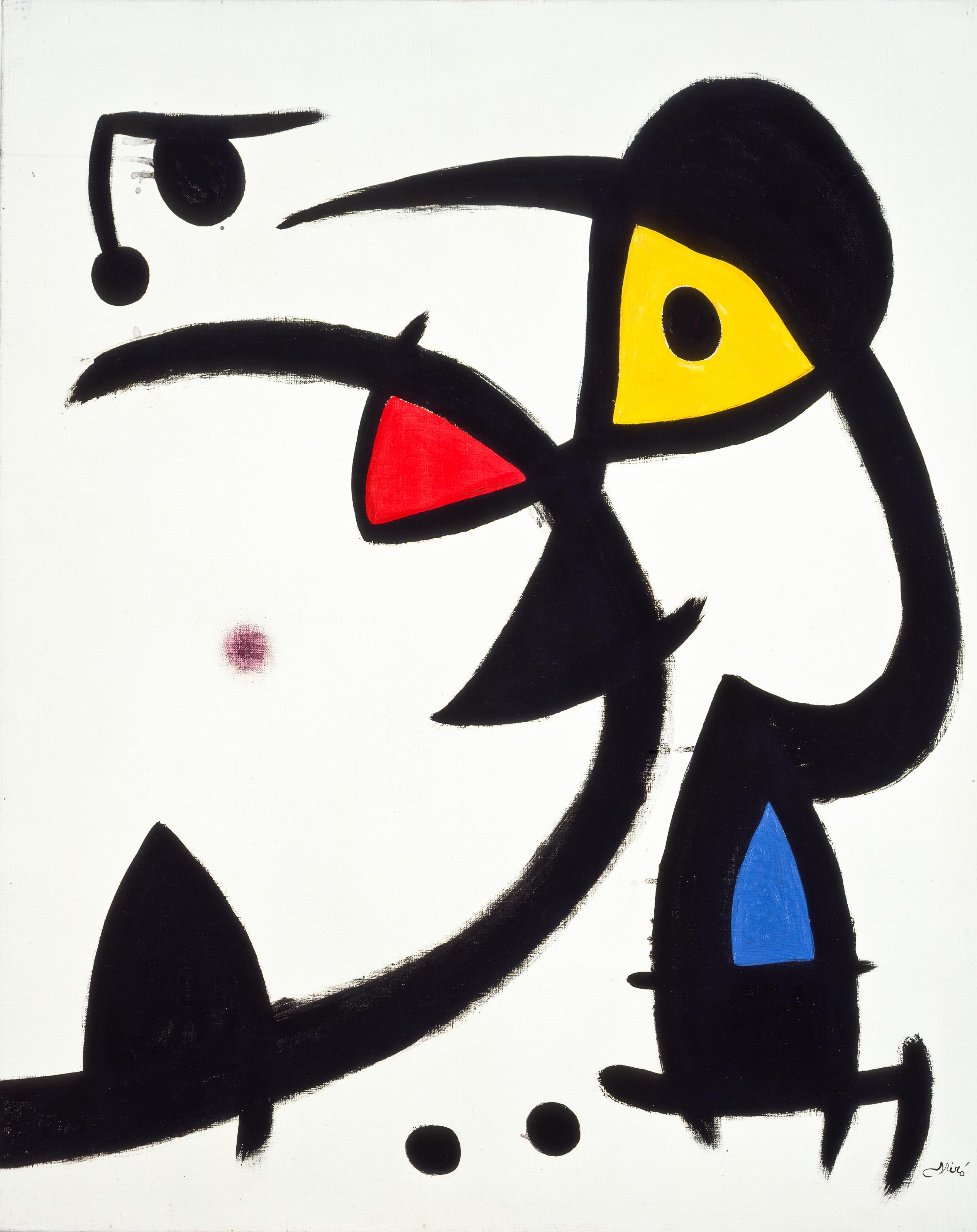 Due personaggi perseguitati da un uccello, 1976 Olio su tela