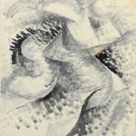 Umberto Boccioni, Voglio sintetizzare le forme uniche della continuità nello spazio (Dinamismo di un corpo umano), 1913 matita nera, inchiostro nero e tempera bianca su carta, 292 × 230 mm Milano, Civico Gabinetto dei Disegni del Castello Sforzesco