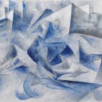 Umberto Boccioni, Cavallo + cavaliere + case, 1914 matita nera, inchiostro nero a penna e acquerello azzurro su carta, 393 × 563 mm Milano, Civico Gabinetto dei Disegni del Castello Sforzesco