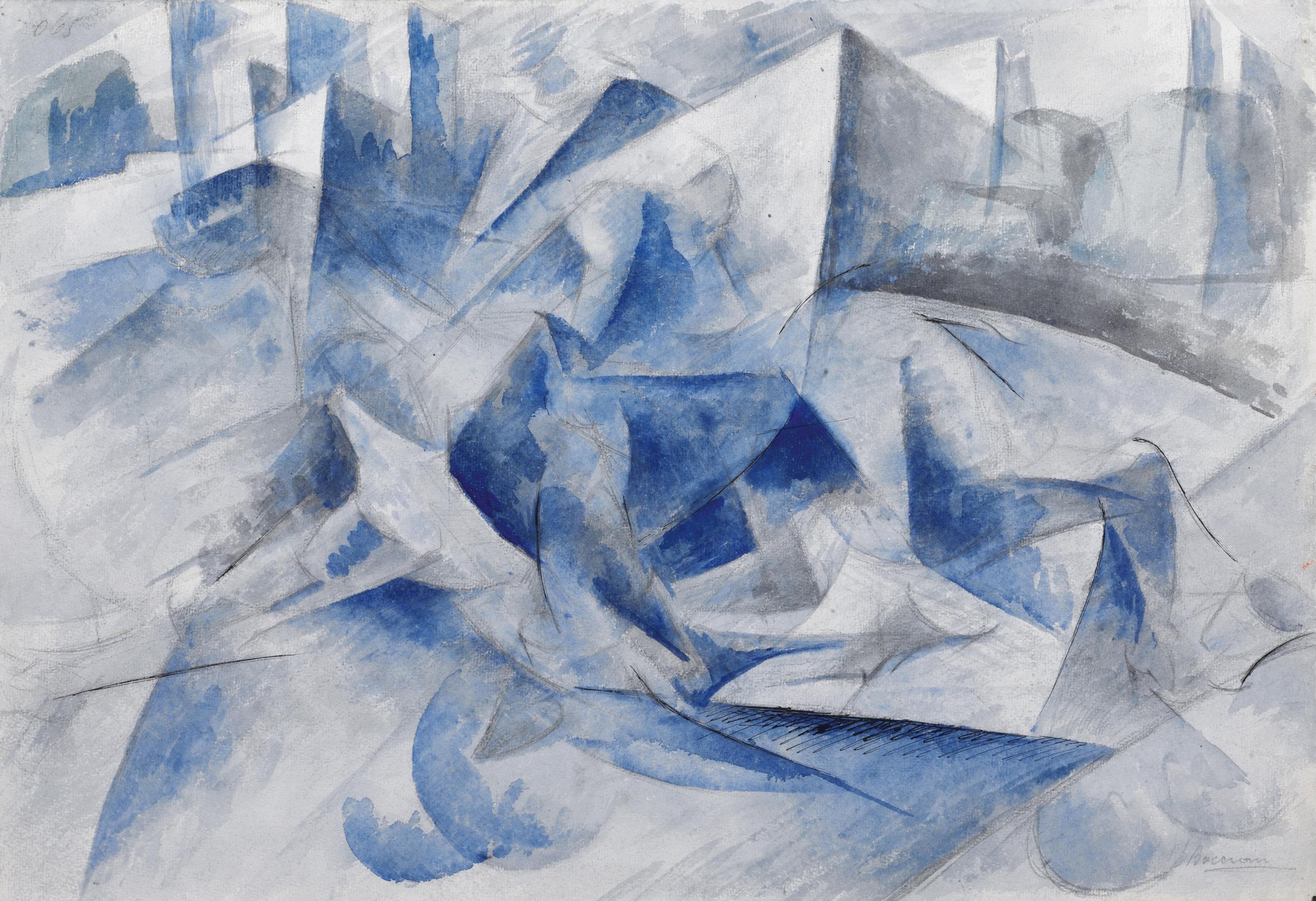 Umberto boccioni cavallo cavaliere case 1914 matita for Cavallo disegno a matita