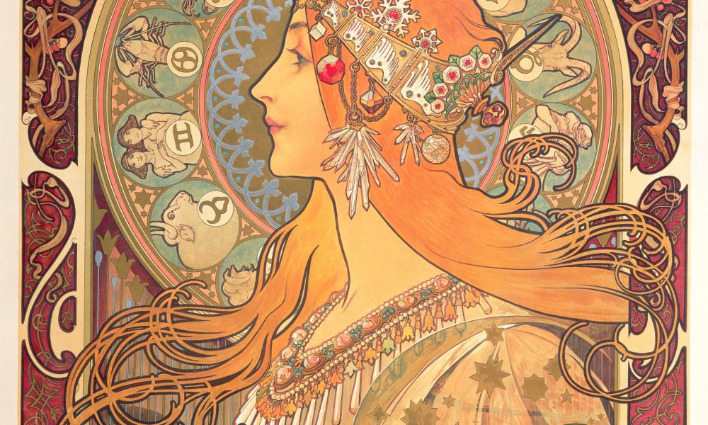 Alphonse Mucha Lo zodiac 1896 Litografia a colori, 65,7x48,2 cm © Mucha Trust 2016