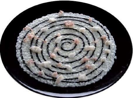 Risotto di pesce, salsa al nero di seppia, calamaretti fritti / 2003
