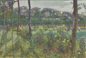 Umberto Boccioni Studio per Campagna lombarda (recto) 1908 matita su carta 15,7 x 11,5 cm