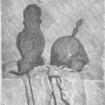 Giorgio Morandi, Natura morta con due oggetti e drappo, acquaforte, mm 237x195, 1929, Tip. 30961
