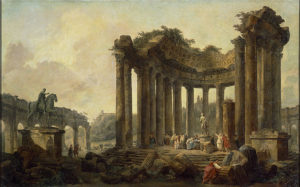 Hubert-Robert-Landscape-with-the-Ruins-of-the-Round-Temple-with-a-Statue-of-Venu...Marcus-Aurelius