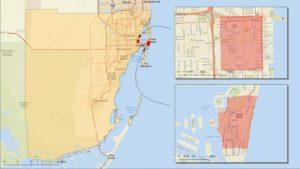 Zone di Miami interessate. (fonte: CDC)