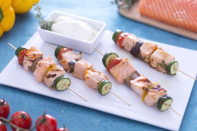 shish kebab salmone