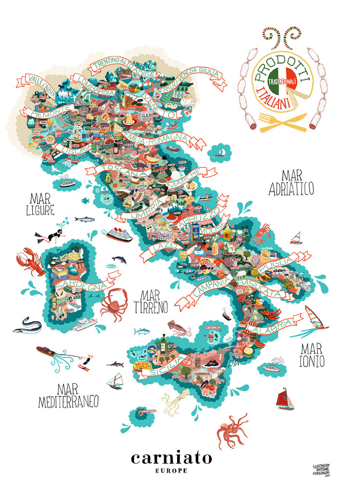 Cartina italia prodotti tipici tgtourism for Piatti tipici roma