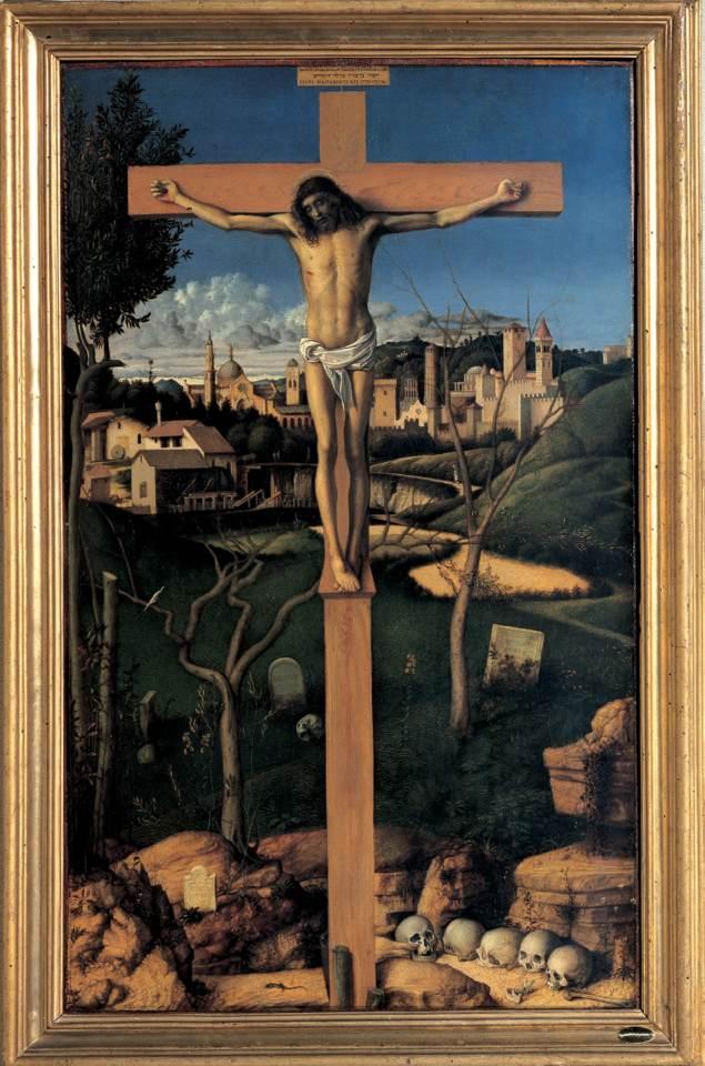 Cristo crocifisso in un cimitero ebraico