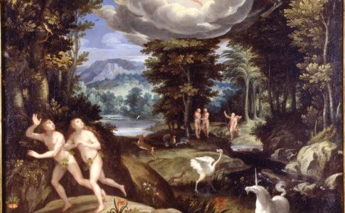 Creature al dipinto di Jan Soens, Bois-le-duc: CACCIATA DAL PARADISO TERRESTRE PARTICOLARE (1575-1590)