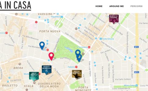 Screenshot della mappa con gli itinerari su casemuseo.it
