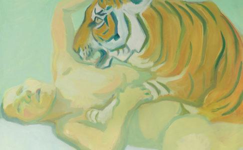 Maria Lassnig: A letto con una tigre, 1975