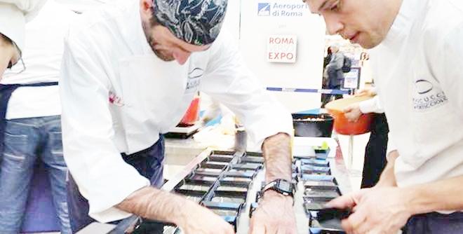 Gianfranco Pascucci e Sandro Serva al cooking show di Fiumicino