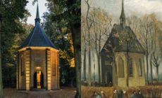 """Dipinto e luogo originale di """"Una congregazione lascia la chiesa riformata di Nuenen"""""""
