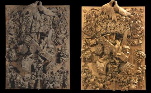 Intaglio ligneo di Gibbons, prima e dopo il restauro