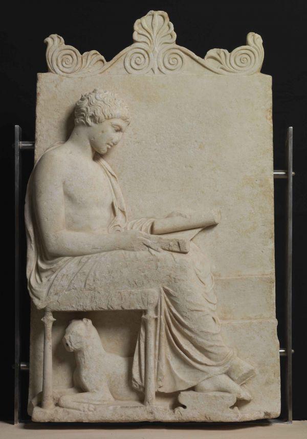 la celebre stele in marmo del V sec a.C.