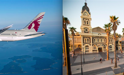 Aereo di Qatar Airways e piazza ad Adelaida