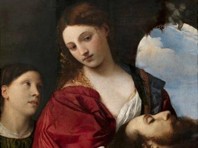 Tiziano Vecellio, 'Salomè con la testa del Battista' (1515 circa, olio su tela, 89,5 x 73 cm, Roma, Galleria Doria Pamphilj), particolare di una delle opere esposte a Mosca