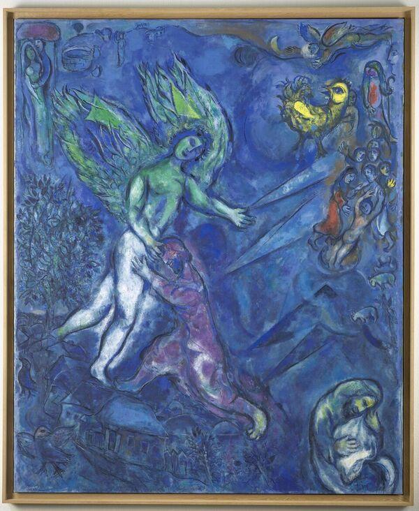 Marc Chagall, La lotta di Giacobbe e l'angelo, 1960-1966. Olio su tela, Nice, Musée national Marc Chagall