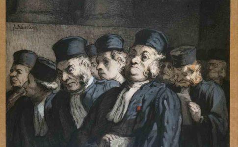 Honoré Daumier (Marseille 1808 – Valmondois 1879) Avvocati e giudici, prima dell'udienza (Gli Avvocati), circa 1862 Carboncino, inchiostro di china, acquarello e tempera su carta, foglio: 160 x 216 mm DR 10609