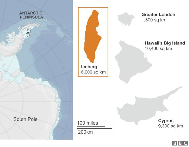 Spacco della Larsen C paragonato ad altre aree