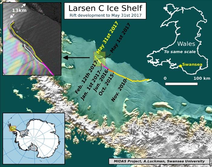 Distacco definitivo dell'A68 dalla Larsen C
