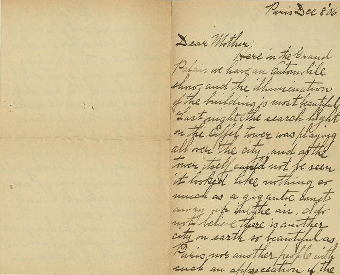 Letter to Elizabeth Griffiths Smith (Mother) from Edward Hopper (recto), December 8, 1906, The Sanborn Hopper Archive at the Whitney Museum of American Art, Frances Mulhall Achilles Library, Gift of The Arthayer R. Sanborn Hopper Collection Trust, Series: Correspondence, Written by Edward Hopper