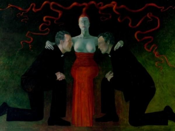 Lolita Timofeeva, Labor alchymicus 1, 2007, tecnica mista su tela, 300 x 200 cm
