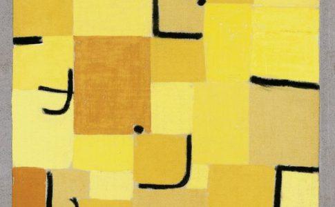 """Paul Klee """"Segno in giallo"""", 1937, 210 (U 10) Pastello su cotone e pasta colorata su tela, 83,5 x 50,3 cm Fondation Beyeler, Riehen / Basilea"""