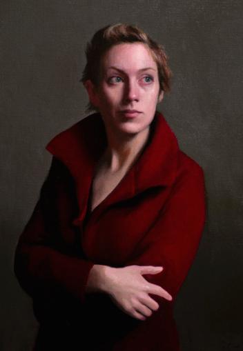Olsen per Olav per Giovani artisti e il classico con Portrait of Niamh in red coat