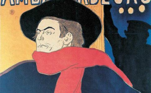 Lautrec. AMBASSADEURS, ARISTIDE BRUANT 1892 • AFFICHE, LITOGRAFIA A PENNELLO E A SPRUZZO IN QUATTRO COLORI
